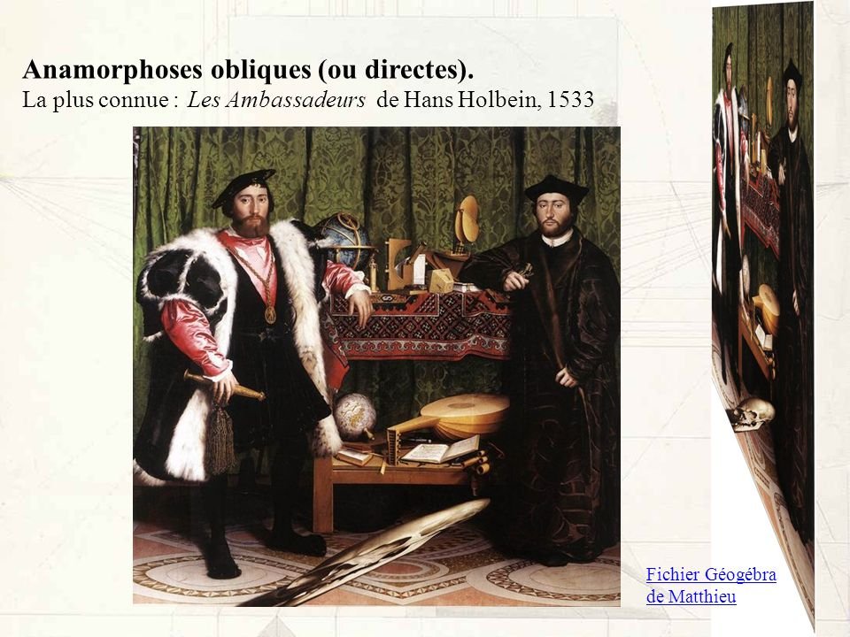 Anamorphoses obliques (ou directes). La plus connue :Les Ambassadeurs de Hans Holbein, 1533 Fichier Géogébra de Matthieu