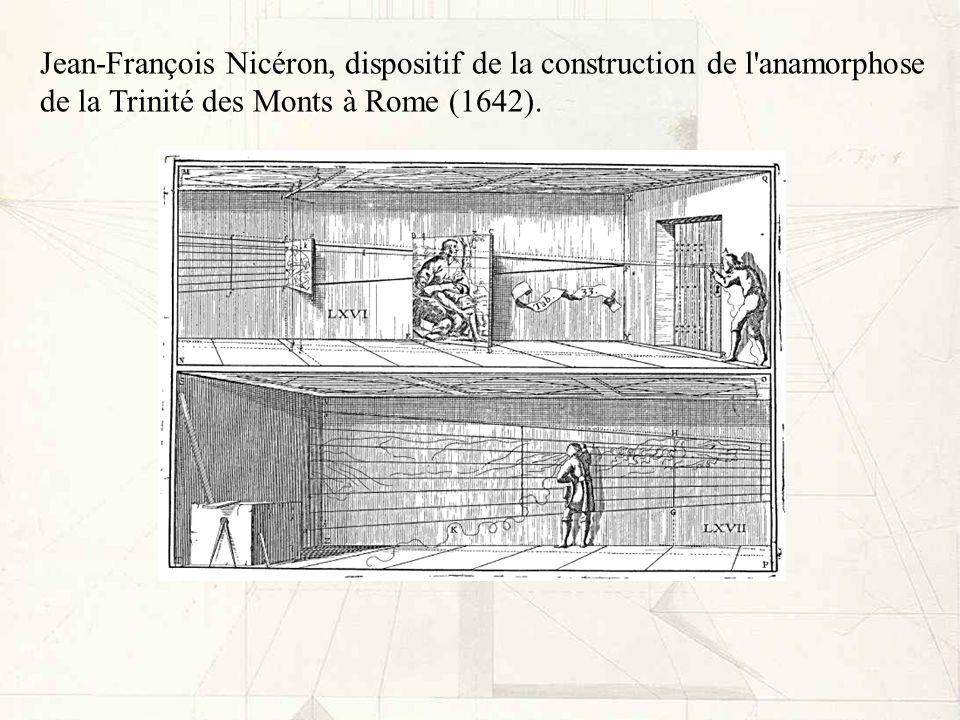 Jean-François Nicéron, dispositif de la construction de l'anamorphose de la Trinité des Monts à Rome (1642).