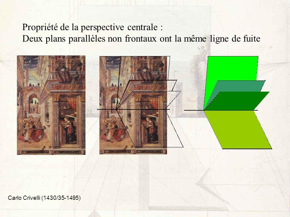 Propriété de la perspective centrale : Deux plans parallèles non frontaux ont la même ligne de fuite Carlo Crivelli (1430/35-1495)