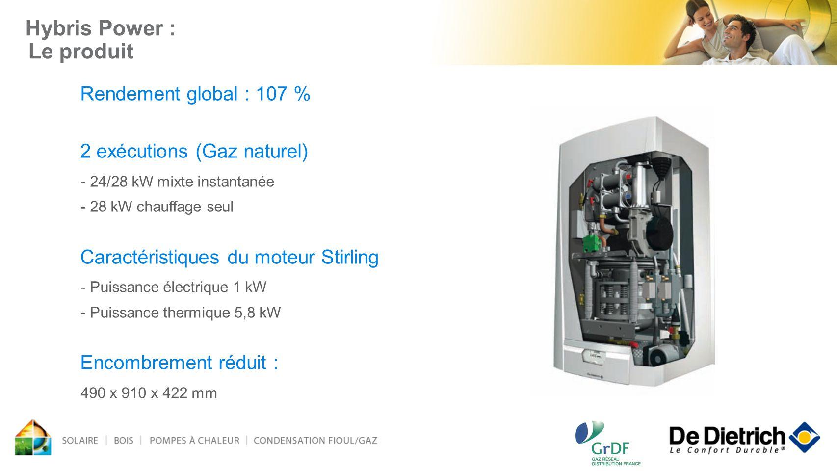 Hybris Power : Le produit Rendement global : 107 % 2 exécutions (Gaz naturel) - 24/28 kW mixte instantanée - 28 kW chauffage seul Caractéristiques du