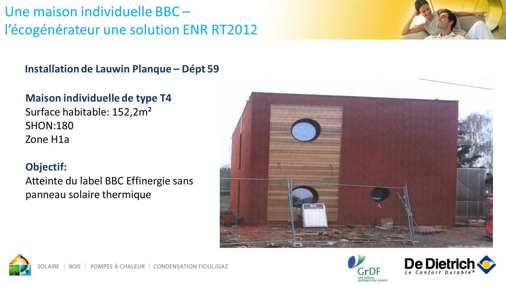 Une maison individuelle BBC – lécogénérateur une solution ENR RT2012 Maison individuelle de type T4 Surface habitable: 152,2m² SHON:180 Zone H1a Objec