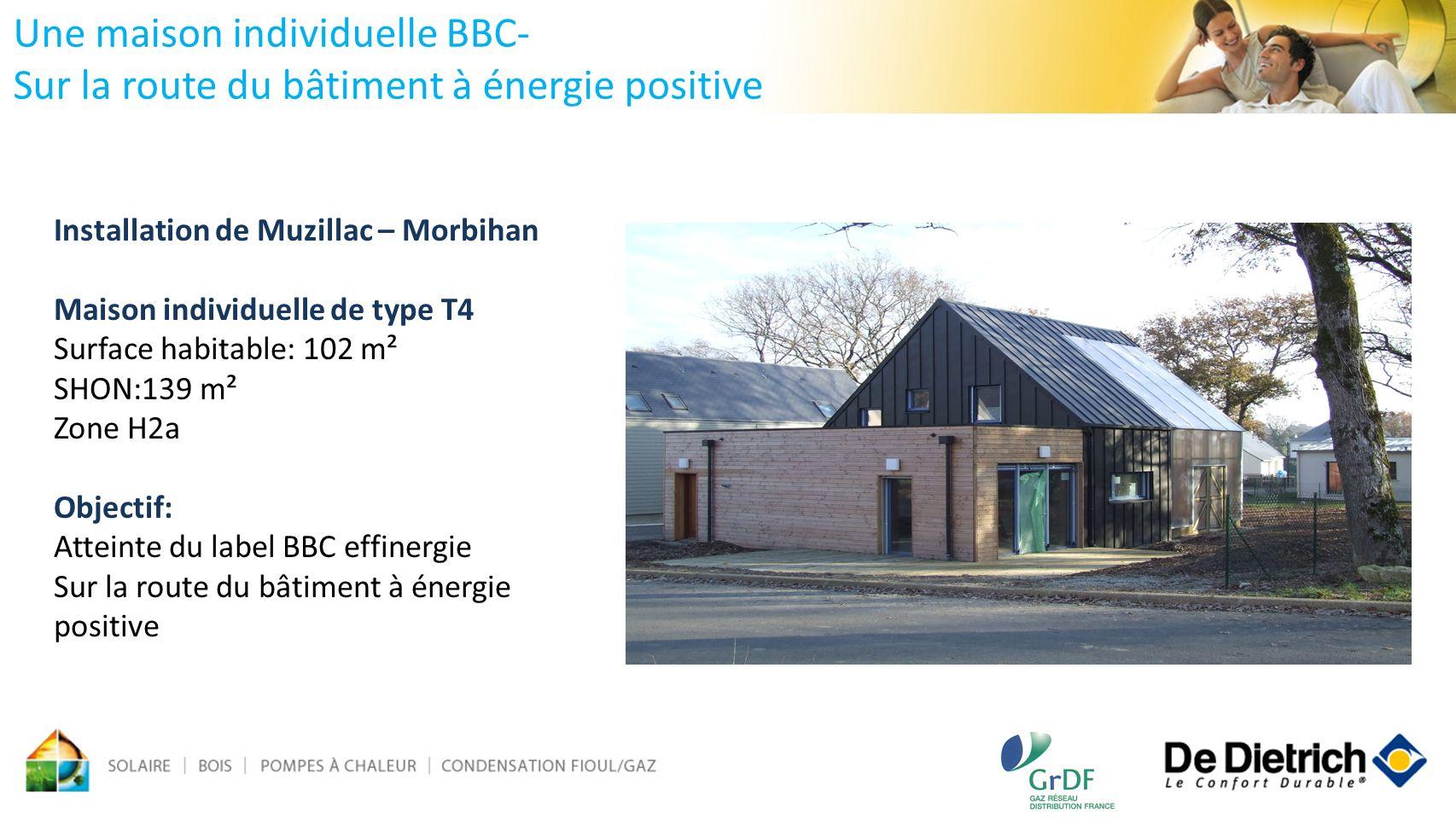 Une maison individuelle BBC- Sur la route du bâtiment à énergie positive Installation de Muzillac – Morbihan Maison individuelle de type T4 Surface ha