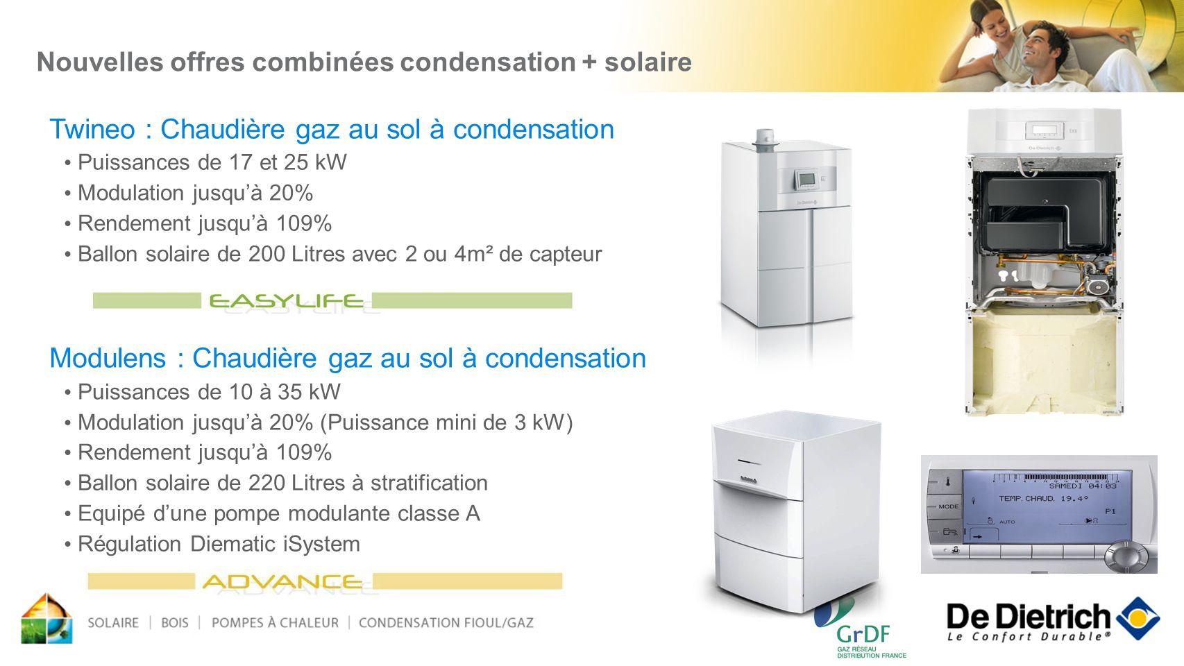 Nouvelles offres combinées condensation + solaire Twineo : Chaudière gaz au sol à condensation Puissances de 17 et 25 kW Modulation jusquà 20% Rendeme