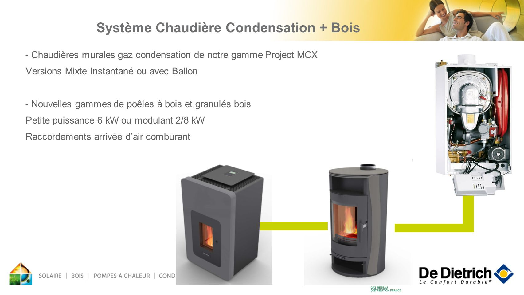 - Chaudières murales gaz condensation de notre gamme Project MCX Versions Mixte Instantané ou avec Ballon - Nouvelles gammes de poêles à bois et granu