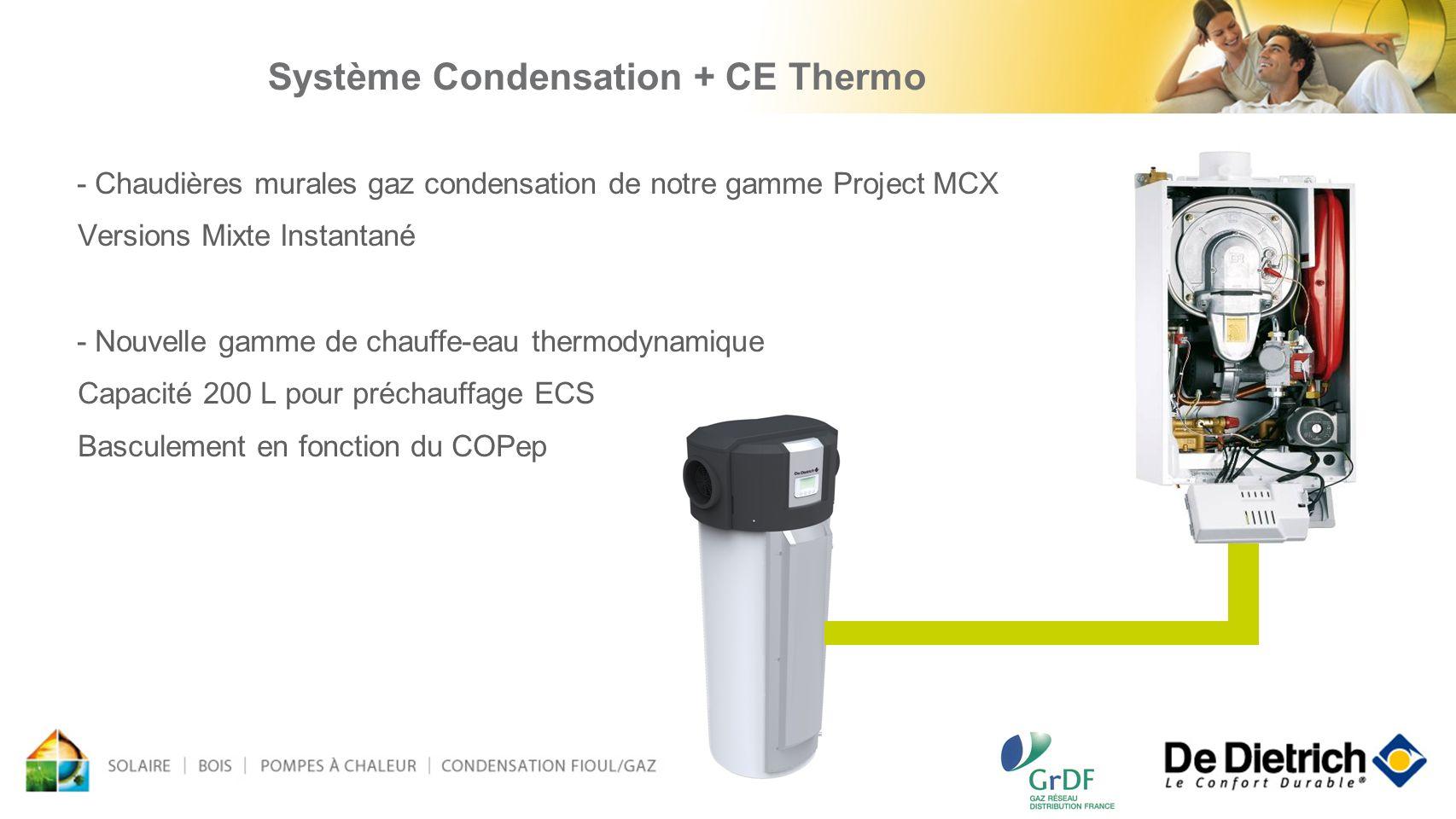 - Chaudières murales gaz condensation de notre gamme Project MCX Versions Mixte Instantané - Nouvelle gamme de chauffe-eau thermodynamique Capacité 20