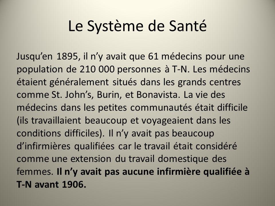 Le Système de Santé Jusquen 1895, il ny avait que 61 médecins pour une population de 210 000 personnes à T-N. Les médecins étaient généralement situés