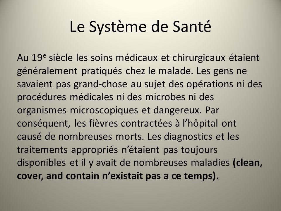 Le Système de Santé Au 19 e siècle les soins médicaux et chirurgicaux étaient généralement pratiqués chez le malade. Les gens ne savaient pas grand-ch