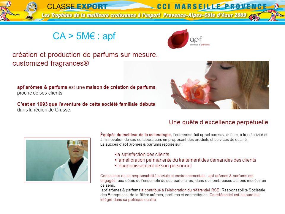 CA > 5M : apf création et production de parfums sur mesure, customized fragrances® apf arômes & parfums est une maison de création de parfums, proche