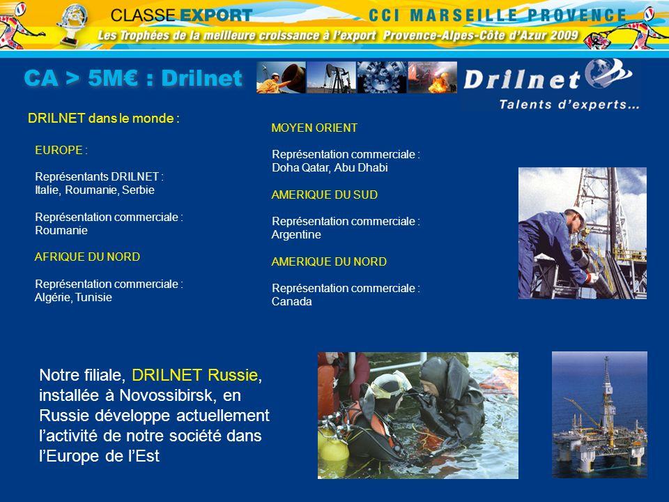 CA > 5M : Drilnet DRILNET dans le monde : MOYEN ORIENT Représentation commerciale : Doha Qatar, Abu Dhabi AMERIQUE DU SUD Représentation commerciale :