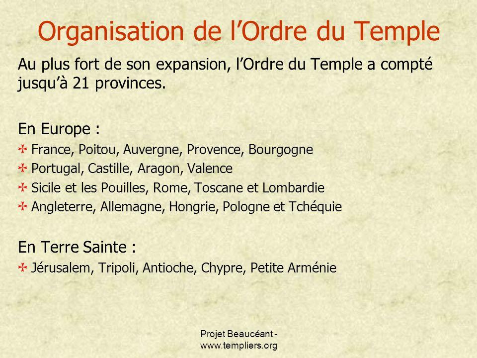 Projet Beaucéant - www.templiers.org Organisation de lOrdre du Temple Au plus fort de son expansion, lOrdre du Temple a compté jusquà 21 provinces. En