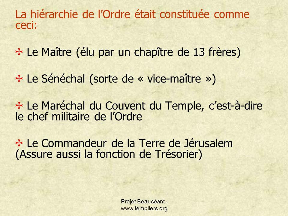 Projet Beaucéant - www.templiers.org La hiérarchie de lOrdre était constituée comme ceci: Le Maître (élu par un chapître de 13 frères) Le Sénéchal (so