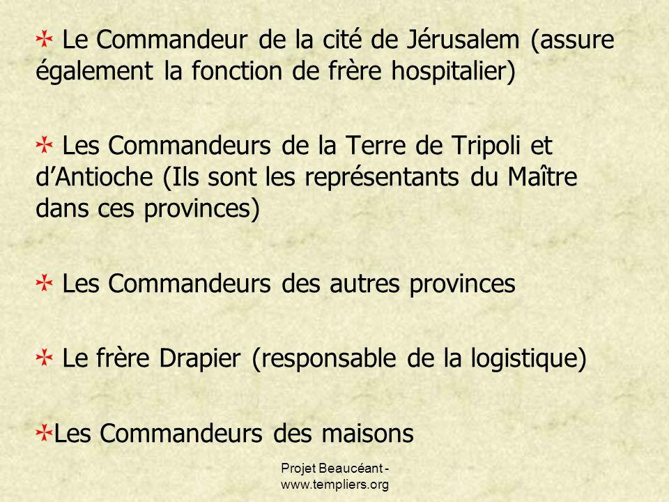 Projet Beaucéant - www.templiers.org Le Commandeur de la cité de Jérusalem (assure également la fonction de frère hospitalier) Les Commandeurs de la T