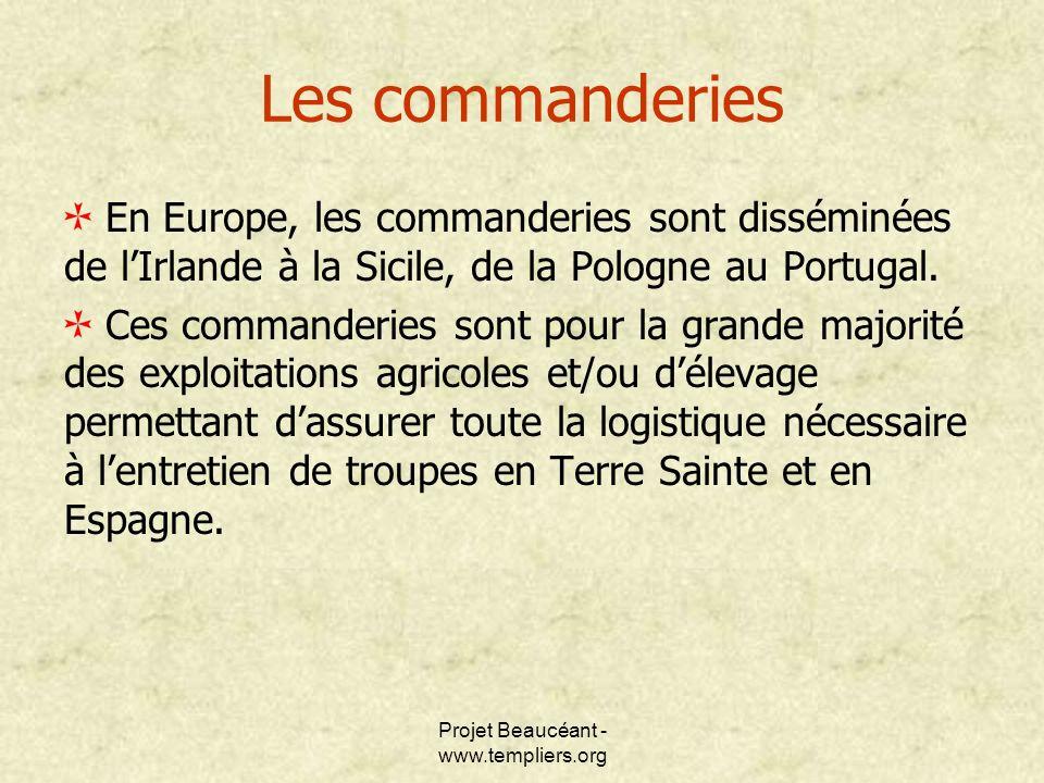 Projet Beaucéant - www.templiers.org En Europe, les commanderies sont disséminées de lIrlande à la Sicile, de la Pologne au Portugal. Ces commanderies