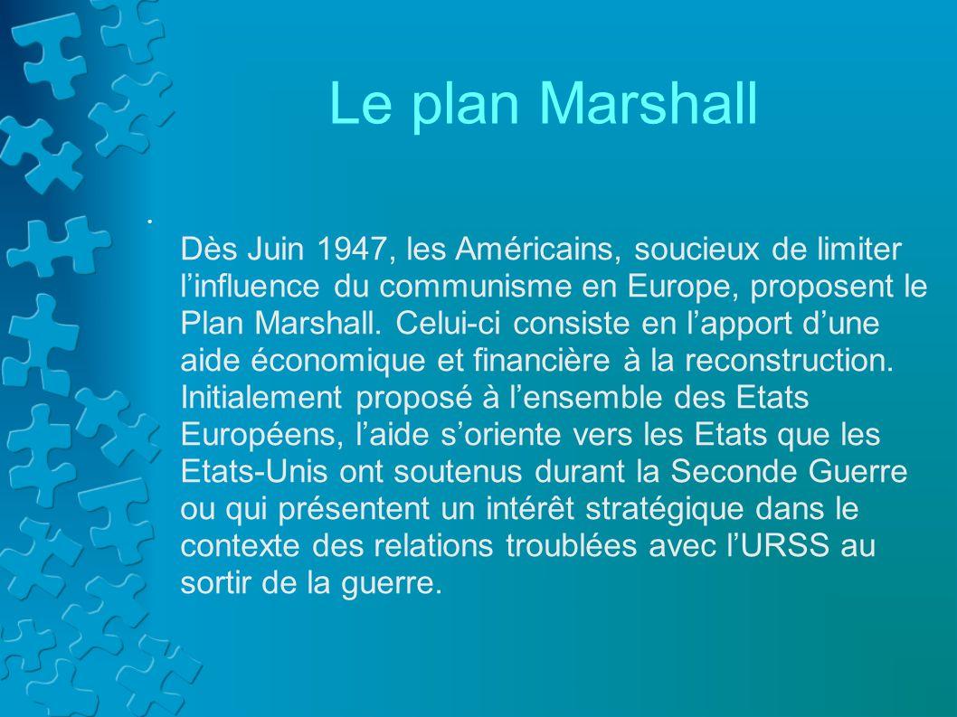 Affiche en faveur du plan Marshall (1948) Larbre figuré sur cette affiche représente lEurope renaissante après la seconde guerre mondiale: le frêle tronc traduit sa fragilité et les fleurs, sa prospérité retrouvée.