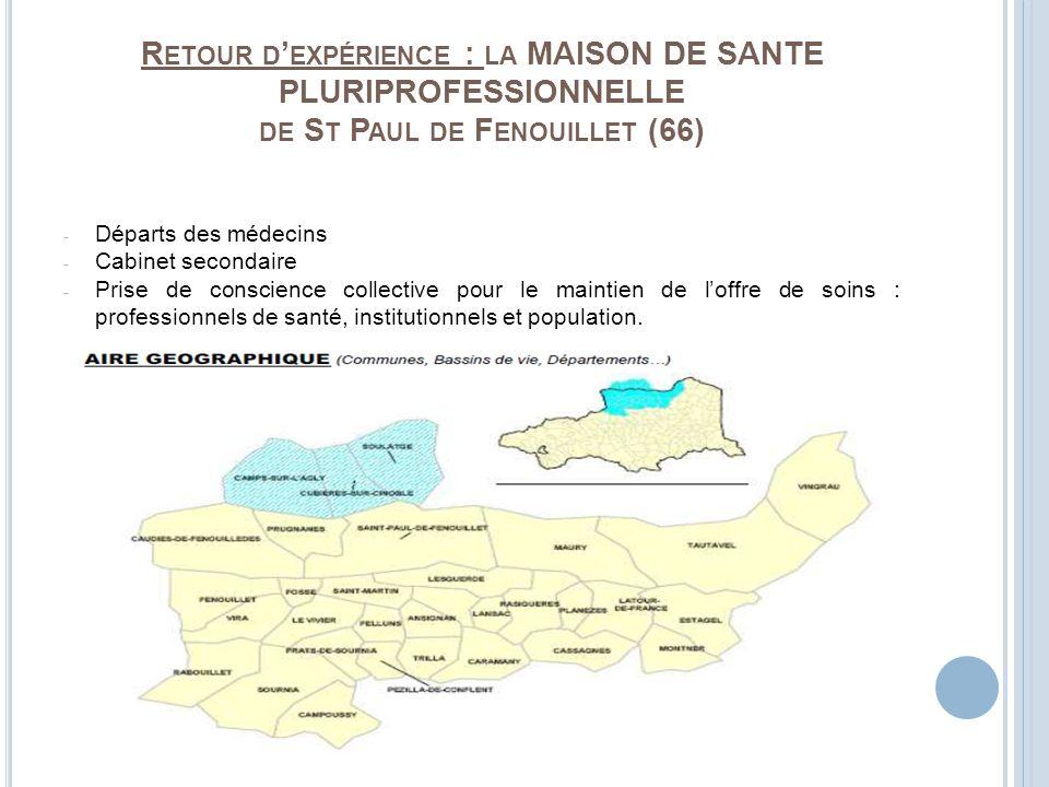 R ETOUR D EXPÉRIENCE : LA MAISON DE SANTE PLURIPROFESSIONNELLE DE S T P AUL DE F ENOUILLET (66) - Départs des médecins - Cabinet secondaire - Prise de
