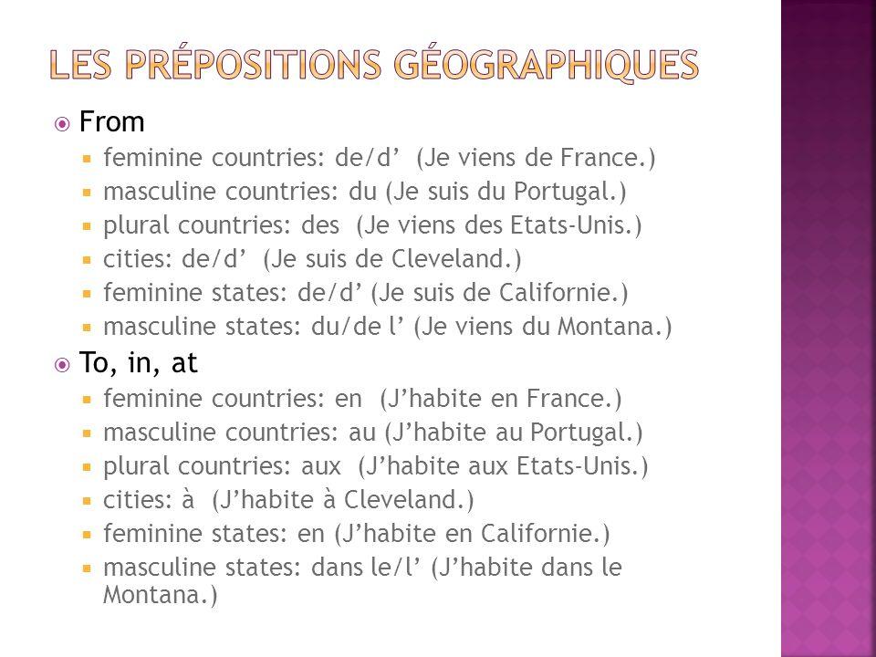 From feminine countries: de/d (Je viens de France.) masculine countries: du (Je suis du Portugal.) plural countries: des (Je viens des Etats-Unis.) ci