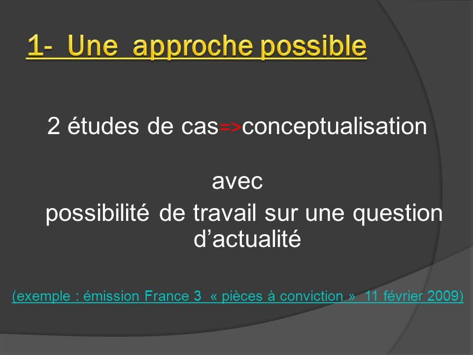 2 études de cas => conceptualisation avec possibilité de travail sur une question dactualité (exemple : émission France 3 « pièces à conviction » 11 f