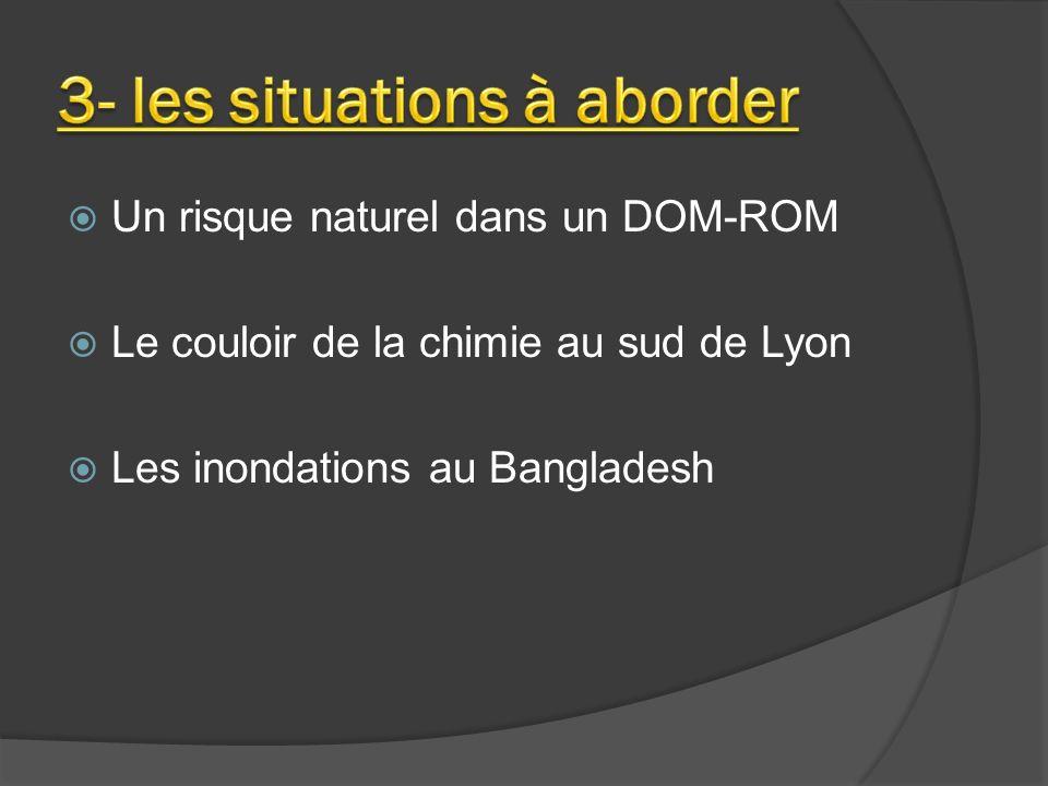 Un risque naturel dans un DOM-ROM Le couloir de la chimie au sud de Lyon Les inondations au Bangladesh