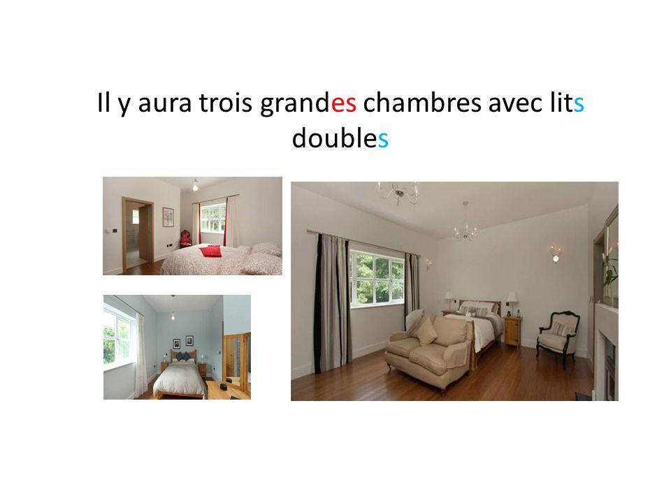 Il y aura trois grandes chambres avec lits doubles