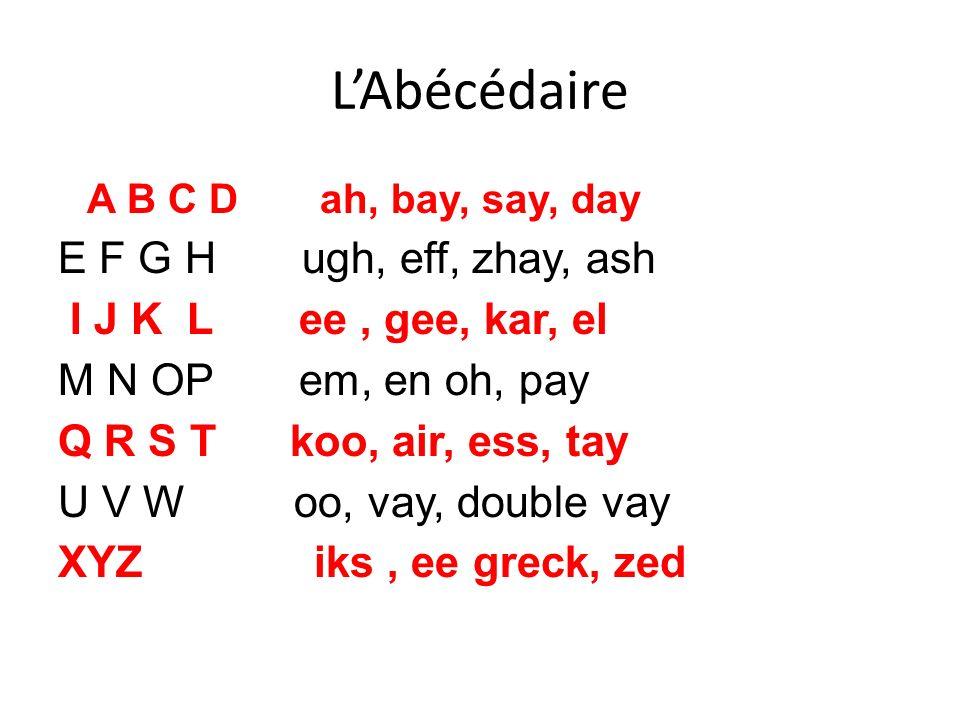 LAbécédaire A B C D ah, bay, say, day E F G H ugh, eff, zhay, ash I J K L ee, gee, kar, el M N OP em, en oh, pay Q R S T koo, air, ess, tay U V W oo,