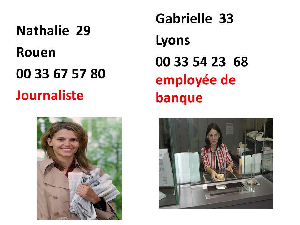 Nathalie 29 Rouen 00 33 67 57 80 Journaliste Gabrielle 33 Lyons 00 33 54 23 68 employée de banque