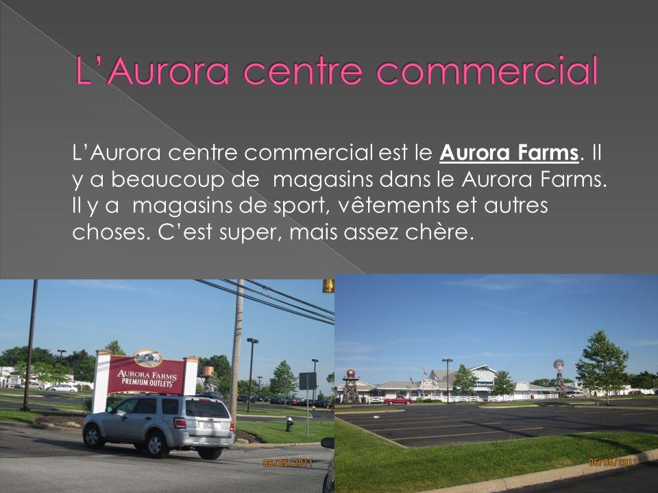 LAurora centre commercial est le Aurora Farms. Il y a beaucoup de magasins dans le Aurora Farms. Il y a magasins de sport, vêtements et autres choses.