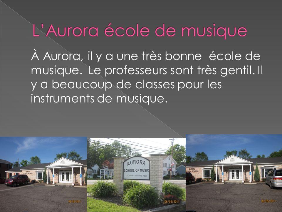À Aurora, il y a une très bonne école de musique. Le professeurs sont très gentil. Il y a beaucoup de classes pour les instruments de musique.