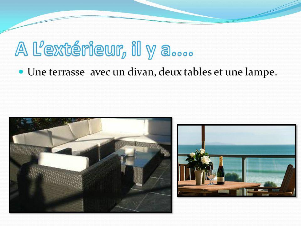 Une terrasse avec un divan, deux tables et une lampe.