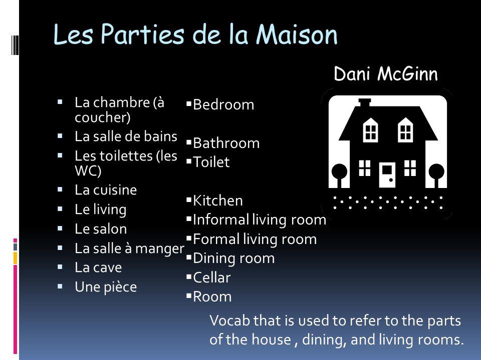 Les Parties de la Maison La chambre (à coucher) La salle de bains Les toilettes (les WC) La cuisine Le living Le salon La salle à manger La cave Une p