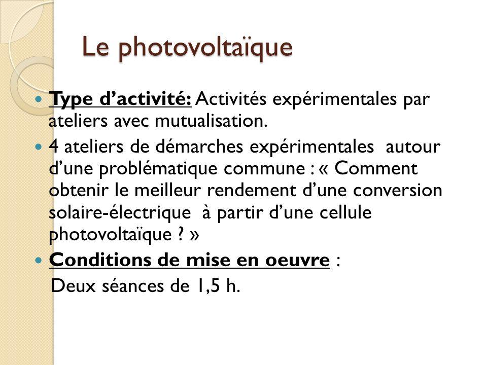 Le photovoltaïque Type dactivité: Activités expérimentales par ateliers avec mutualisation.