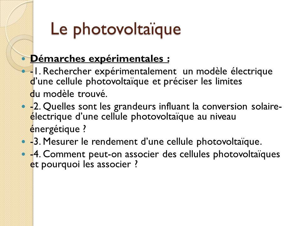 Le photovoltaïque Démarches expérimentales : -1.