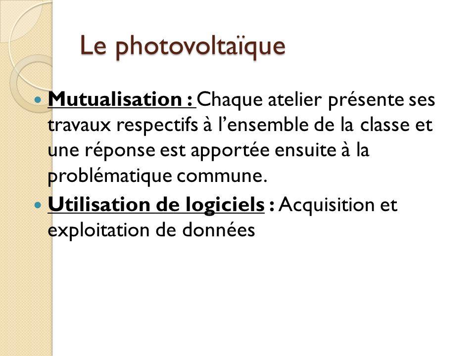 Le photovoltaïque Mutualisation : Chaque atelier présente ses travaux respectifs à lensemble de la classe et une réponse est apportée ensuite à la problématique commune.