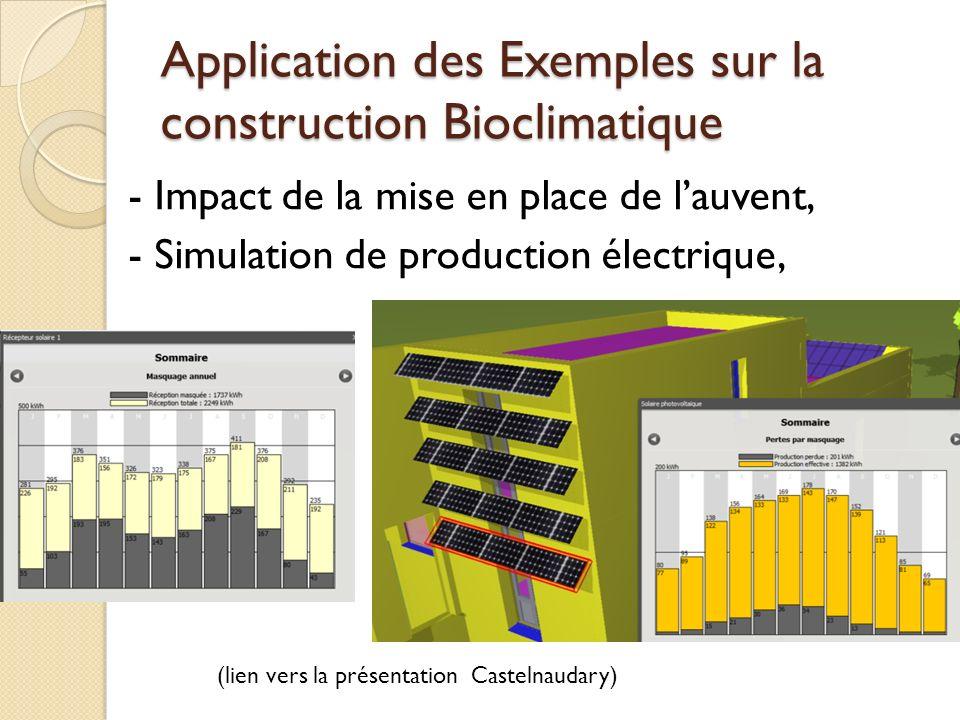Application des Exemples sur la construction Bioclimatique - Impact de la mise en place de lauvent, - Simulation de production électrique, (lien vers la présentation Castelnaudary)