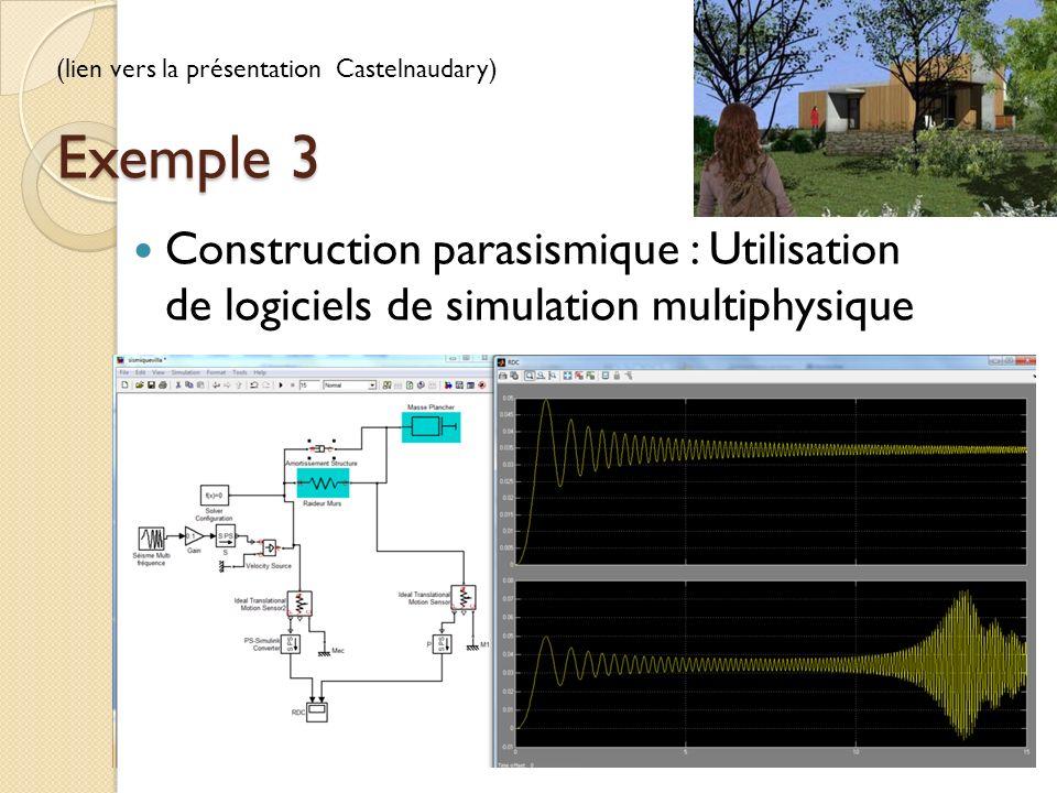Exemple 3 Construction parasismique : Utilisation de logiciels de simulation multiphysique (lien vers la présentation Castelnaudary)