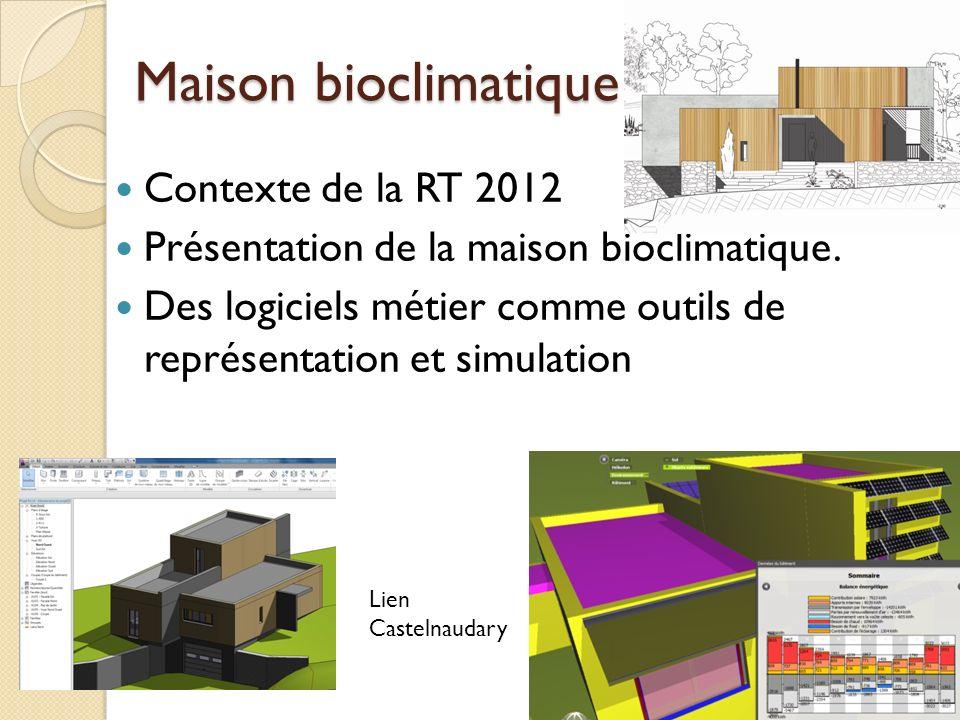 Maison bioclimatique Contexte de la RT 2012 Présentation de la maison bioclimatique.