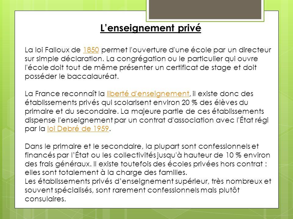Lenseignement privé La loi Falloux de 1850 permet l ouverture d une école par un directeur sur simple déclaration.