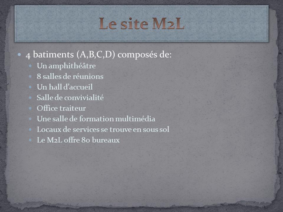 4 batiments (A,B,C,D) composés de: Un amphithéâtre 8 salles de réunions Un hall daccueil Salle de convivialité Office traiteur Une salle de formation