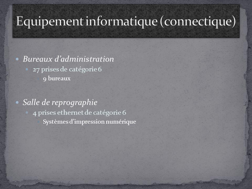 Bureaux dadministration 27 prises de catégorie 6 9 bureaux Salle de reprographie 4 prises ethernet de catégorie 6 Systèmes dimpression numérique