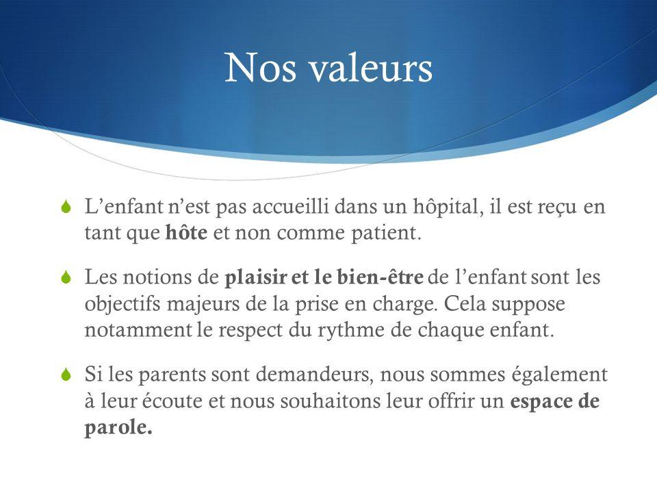 Nos valeurs Lenfant nest pas accueilli dans un hôpital, il est reçu en tant que hôte et non comme patient. Les notions de plaisir et le bien-être de l