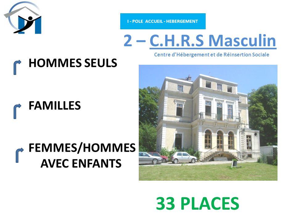 I - POLE ACCUEIL - HEBERGEMENT 2 – C.H.R.S Masculin Centre dHébergement et de Réinsertion Sociale HOMMES SEULS FAMILLES FEMMES/HOMMES AVEC ENFANTS 33