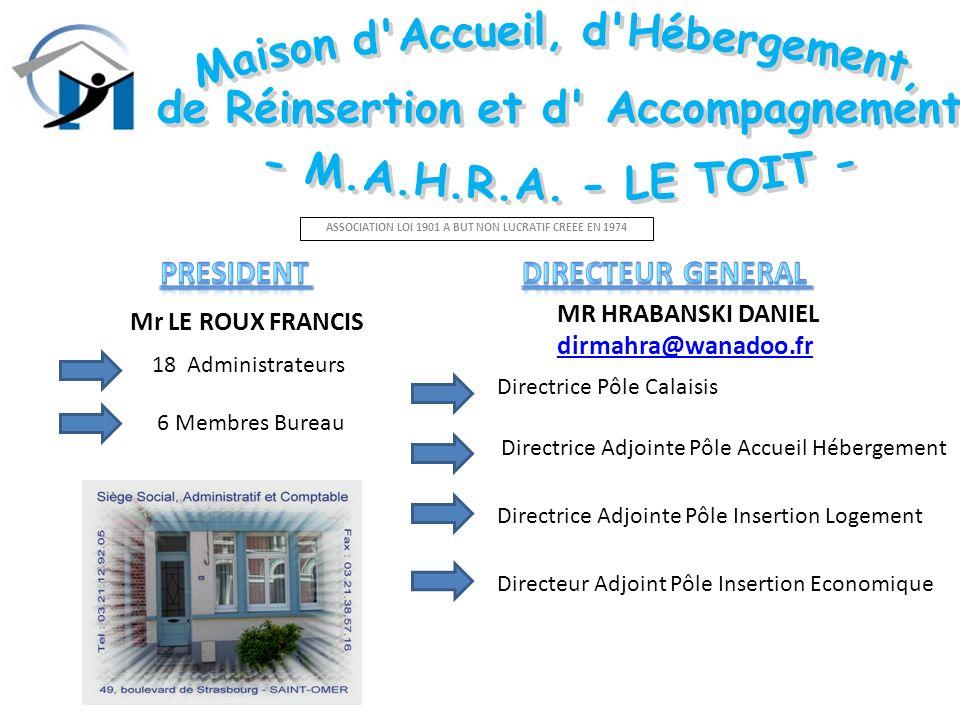 ASSOCIATION LOI 1901 A BUT NON LUCRATIF CREEE EN 1974 Mr LE ROUX FRANCIS MR HRABANSKI DANIEL dirmahra@wanadoo.fr 18 Administrateurs 6 Membres Bureau D