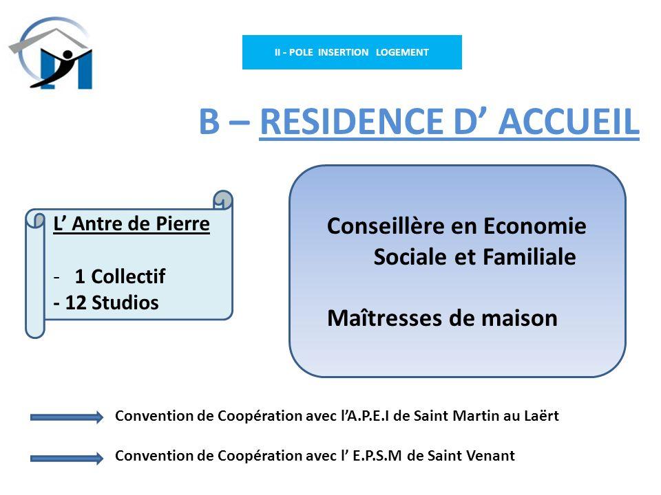 II - POLE INSERTION LOGEMENT B – RESIDENCE D ACCUEIL Conseillère en Economie Sociale et Familiale Maîtresses de maison L Antre de Pierre - 1 Collectif