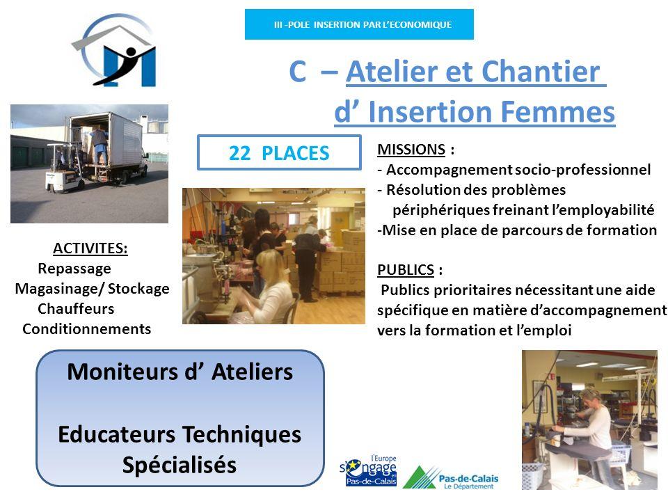 III -POLE INSERTION PAR LECONOMIQUE C – Atelier et Chantier d Insertion Femmes MISSIONS : - Accompagnement socio-professionnel - Résolution des problè