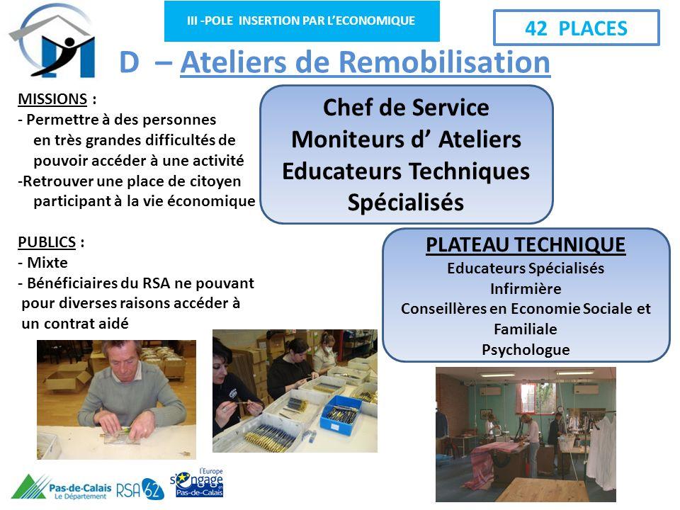 III -POLE INSERTION PAR LECONOMIQUE D – Ateliers de Remobilisation MISSIONS : - Permettre à des personnes en très grandes difficultés de pouvoir accéd