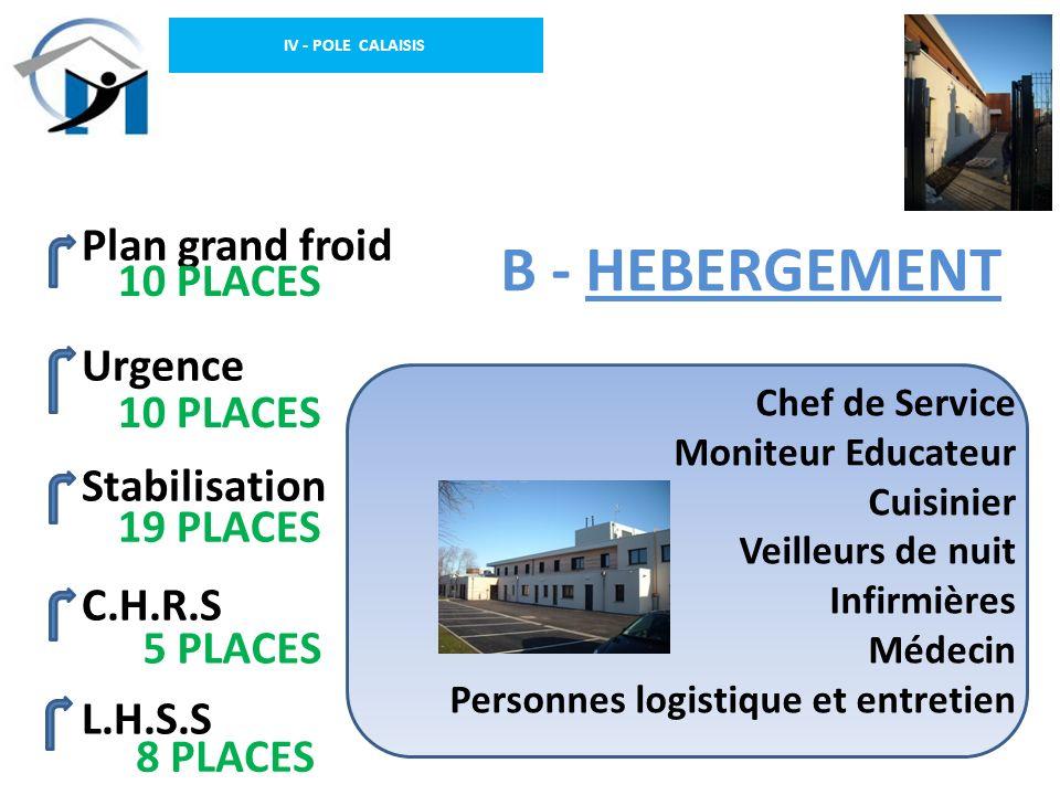 IV - POLE CALAISIS B - HEBERGEMENT Plan grand froid Urgence Stabilisation C.H.R.S L.H.S.S Chef de Service Moniteur Educateur Cuisinier Veilleurs de nu