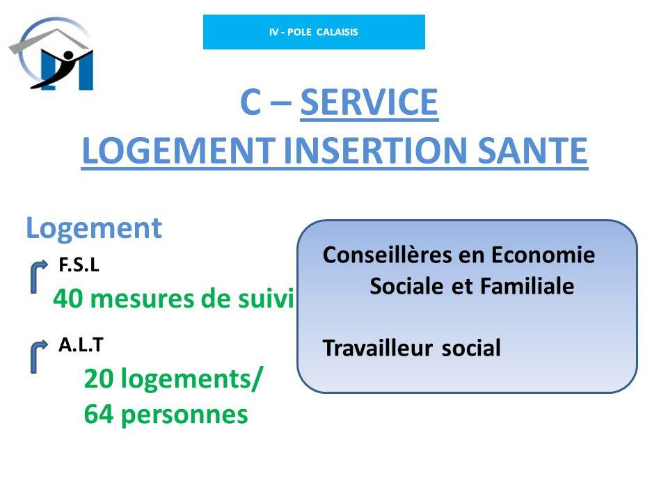 IV - POLE CALAISIS C – SERVICE LOGEMENT INSERTION SANTE F.S.L A.L.T Conseillères en Economie Sociale et Familiale Travailleur social Logement 20 logem