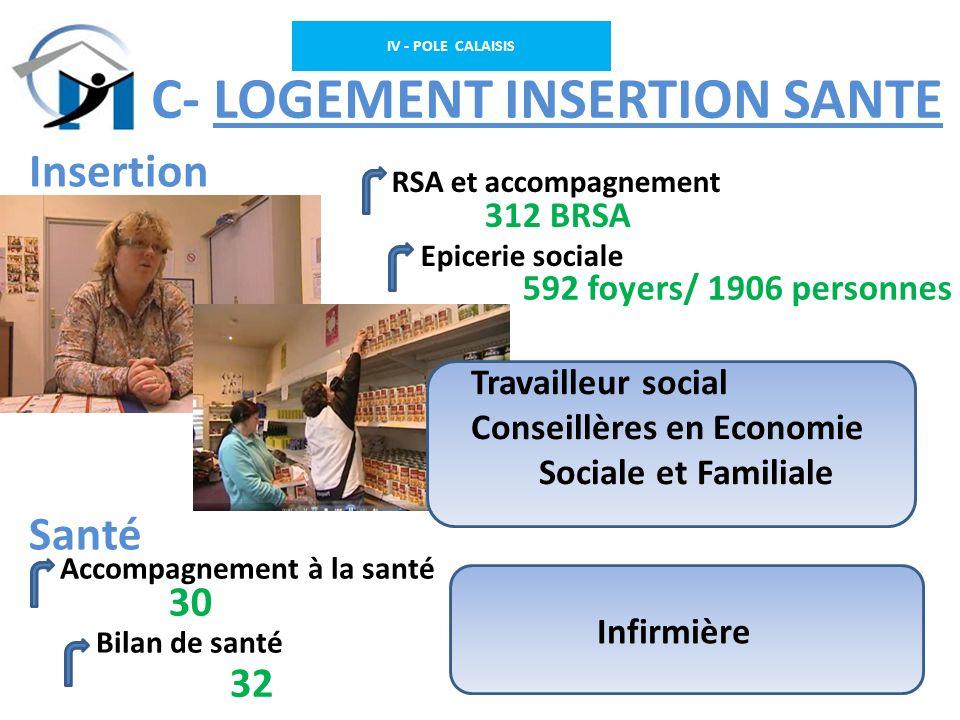 IV - POLE CALAISIS C – C- LOGEMENT INSERTION SANTE RSA et accompagnement Epicerie sociale Insertion Santé Accompagnement à la santé Bilan de santé Inf