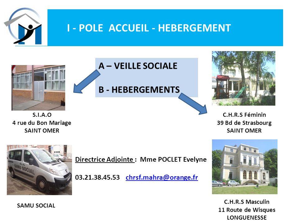 I - POLE ACCUEIL - HEBERGEMENT Directrice Adjointe : Mme POCLET Evelyne 03.21.38.45.53 chrsf.mahra@orange.frchrsf.mahra@orange.fr S.I.A.O 4 rue du Bon