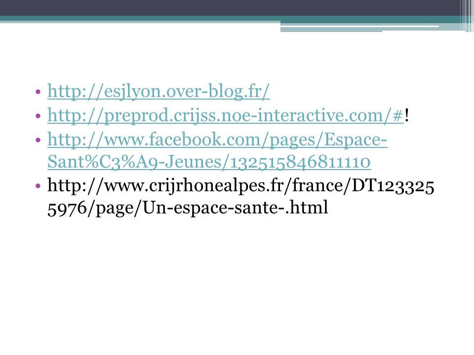 http://esjlyon.over-blog.fr/ http://preprod.crijss.noe-interactive.com/#!http://preprod.crijss.noe-interactive.com/# http://www.facebook.com/pages/Espace- Sant%C3%A9-Jeunes/132515846811110http://www.facebook.com/pages/Espace- Sant%C3%A9-Jeunes/132515846811110 http://www.crijrhonealpes.fr/france/DT123325 5976/page/Un-espace-sante-.html