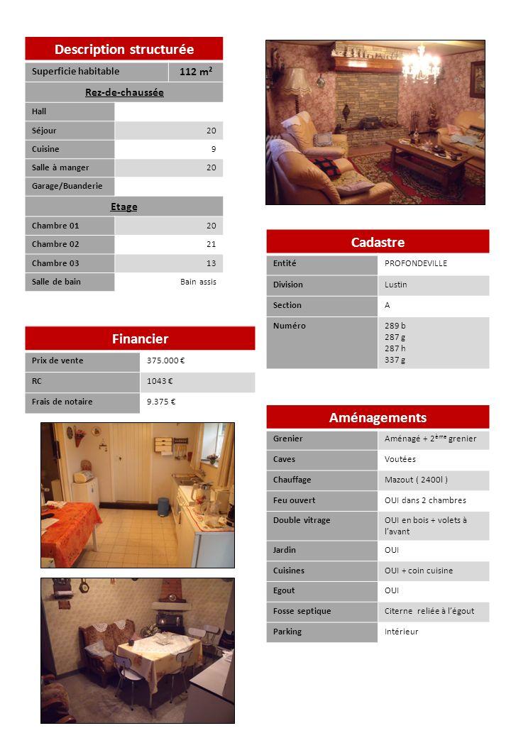 Description structurée Superficie habitable 112 m² Rez-de-chaussée Hall Séjour20 Cuisine9 Salle à manger20 Garage/Buanderie Etage Chambre 0120 Chambre